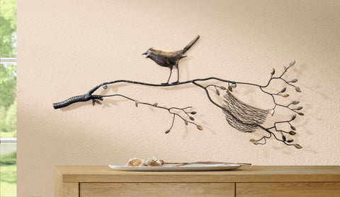 Bird & Nest On Branches Decorative Metal Wall Sculpture