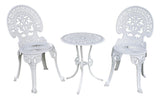Angel White Garden Bistro Set - Table and Two Chairs for Yard, 3 Pieces