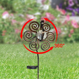 44 in. Tall 3D Metal Peacock Wind Spinner Garden Stake with Solar Crackle Glass Ball