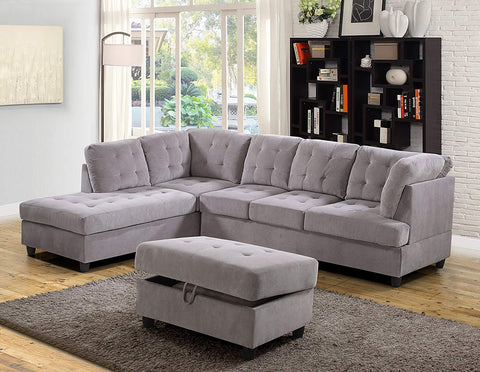 3 Piece Corduroy Contemporary Left-facing Sectional Sofa Set with Ottoman, Gray