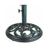 18 in Round Cast Iron Swirl Patio Umbrella Base - Verdigris Green