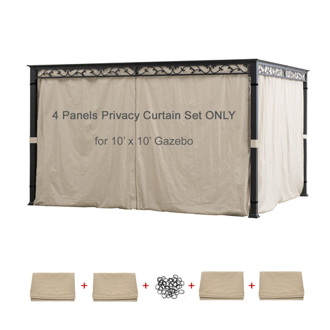 Universal Replacement 4 Panels Privacy Curtain Set for 10' x 10'  Gazebo (Gazebo Privacy Side Wall Set Only)
