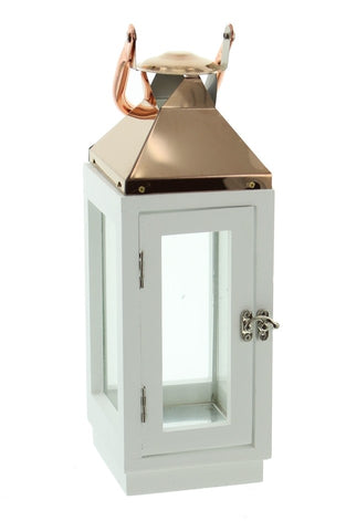 12 in. Copper Top White Wooden Candle Lantern with Rose Gold Hanging Loop - Medium