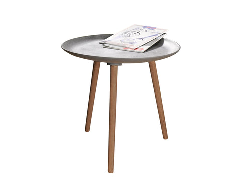 Waterproof 21.5 in. Round Accent Table with 3 Wooden Legs
