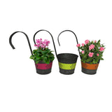 "Hanging Metal Flower Planters ""Jazzy Flowers"" with Hanging Handles, Set of Three"