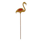 Rustic Flamingo Metal Garden Pick with Red Glass Feather Accent