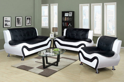 3 Piece Faux Leather Contemporary Living Room Sofa, Love Seat, Chair Set, Black/White