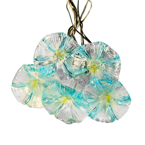 Blue Flowers Solar LED String Lights - Exterior Lights for Yard or Patio