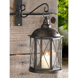 10.25 in. Bronze Metal Hanging Candle Lantern, Clear Glass