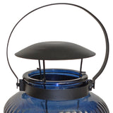 "15 in. Tall Ocean Blue Glass Candle Lantern ""Azur"""