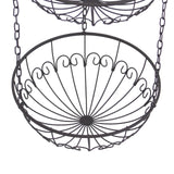 3-Tier 12 in Dia Metal Wire Hanging Kitchen Basket / Fruit Bowls - Dark Brown
