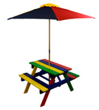 Kids Picnic Table Set with Umbrella Outdoor Junior Children Rainbow Product SKU: UB50039