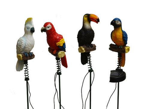 4 Pack Solar Lighted Jungle Birds Stake Lights -- Landscape Ornament