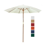 9 ft Natural Shade Patio Umbrella - Outdoor Wooden Market Umbrella