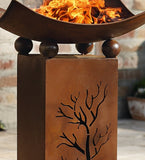 "Decorative Rustic Metal Fire Pillar with Removable Bowl - ""Brazier"" Fire Column, 2pc Set"