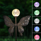47 in. Tall 3D Metal Butterfly Wind Spinner Garden Stake with Solar Crackle Glass Ball