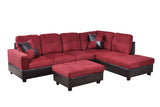 3 Piece Microfiber / Faux Leather Contemporary Right-facing Sectional Sofa Set with Ottoman, 2 Accent Pillows, Carmine Red