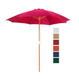 9 ft Red Patio Umbrella - Outdoor Wooden Market Umbrella