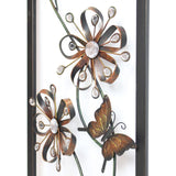 Framed Metal Butterfly and Magic Flowers Wall Art