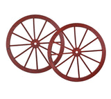 30 in Wooden Wagon Wheels - Decorative Wall Decor, Set of Two--RED