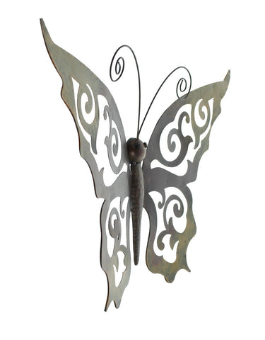 ... Metal Butterfly Wall Decor   Black Metal Butterfly Wall Art With Ornate  Wings