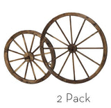 2 Pack Steel-rimmed Wooden Wagon Wheels (1pc 24 in + 1pc 36 in), Wall Decor