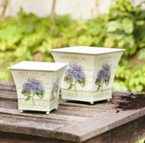 Cream Colored Square Metal Planters with Hydrangea Motif, Set of Two