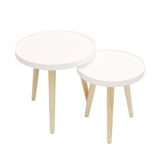 Two Tone Wood 3-Leg Round Tray-top Side Tables, 2pc Set (12.6 / 15.5 in. Dia. Each)