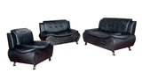 3 Piece Faux Leather Contemporary Living Room Sofa, Love Seat, Chair Set, Black V2