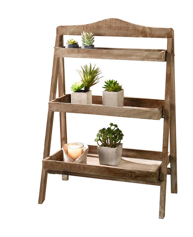 29 in. Tall Foldable Wooden Plant Stand for Outdoor or Greenhouse, Three Shelves