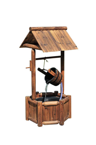 3.8 ft Grand Wishing Well Wood Outdoor Water Fountain with Pump