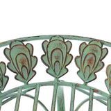 "13"" Round Metal Plant Stand w/ Peacock Tail Motif and Curved Legs"