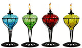 4 Pack 10 in Assorted Color Table Top Torch - Burning Citronella / Lamp Oil