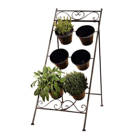 "35 in. Tall Foldable Metal Planter Stand ""Povencal"" with 6 Metal Pots"