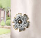 14 in. Metal Rustic Silver Flower Wall Art