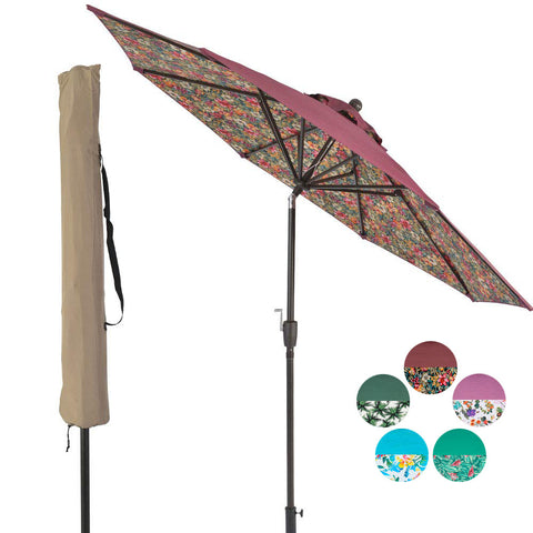 9 ft Aluminum Patio Umbrella Outdoor Garden Yard Deck Table Umbrella with Cover, 8 Sturdy Ribs, Crank Open, Push Button Tilting, Wine / Red Floral Umbrella