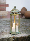 24.4 in. Metal Moroccan Hanging Candle Lantern, Clear Glass Large Candle Lantern