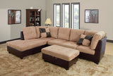 3 Piece Microfiber / Faux Leather Contemporary Left-facing Sectional Sofa Set with Ottoman, 2 Accent Pillows, Camel Beige
