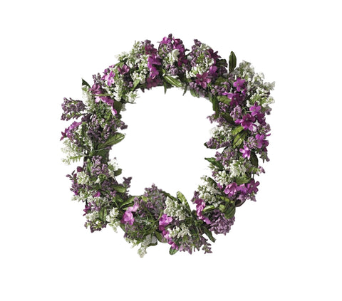 Decorative 15 in. Dia Round Purple and White Flower Wreath
