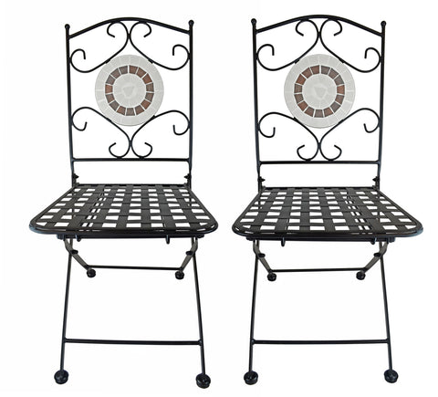 Foldable Mosaic Ring Bistro Chairs, Set of Two