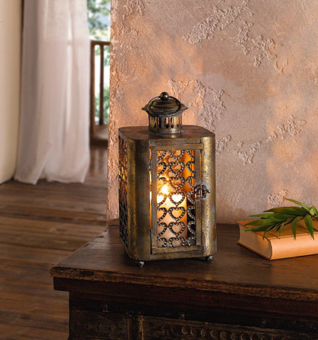Bronze Metal Hanging Candle Lantern with Heart Pattern
