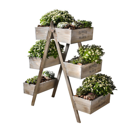 6 Tiered Foldable Wooden Plant Stand,Outdoor Planter Holder with Box Display Shelf Rack