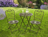 Provence Metal Folding Garden Bistro Set - Table & Two Chairs - Warm Brown