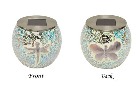 4 in. Solar Mosaic Glass Jar / Table Top Globe Lantern