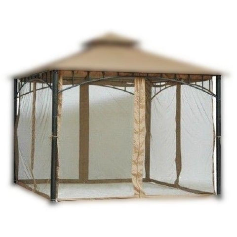 6.5 ft (78 in) Tall Black Mosquito Net ONLY for 10x10 Gazebo w/ Velcro Straps