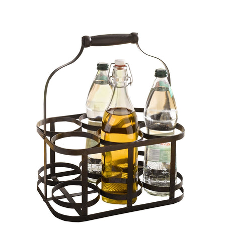 6-Bottle Metal Rack Basket Caddy Holder with Wood Handle