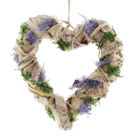 10 in. Decorative Rustic Lavender Inspired Jute Accent Heart Wreath