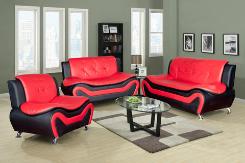 3 Piece Faux Leather Contemporary Living Room Sofa, Love Seat, Chair Set, Black/Red