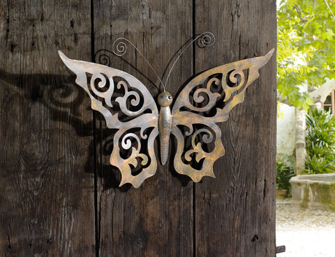 Metal Butterfly Wall Decor   Black Metal Butterfly Wall Art With Ornate  Wings