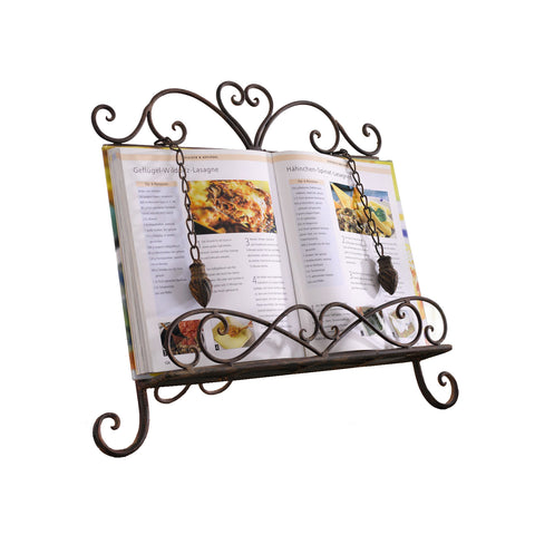 Antique Metal ♥Cookbook Stand Recipe Book Stand for Kitchen Easel Weighted Chain